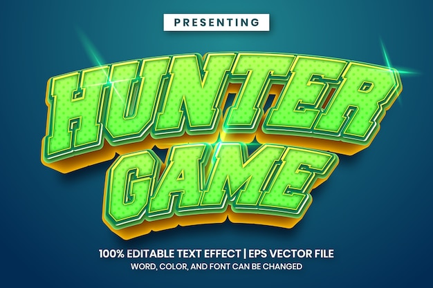 헌터 게임 편집 가능한 텍스트 효과-대담하고 강한 스타일