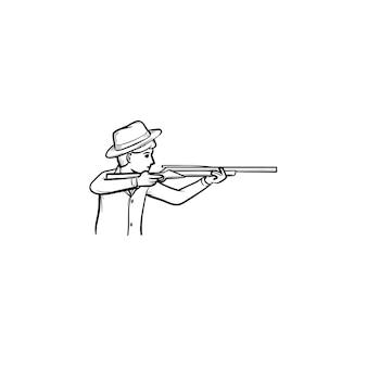 ハンター手描きアウトライン落書きアイコン。印刷、ウェブ、モバイル、白い背景で隔離のインフォグラフィックのライフル銃を持つハンターのベクトルスケッチイラスト。