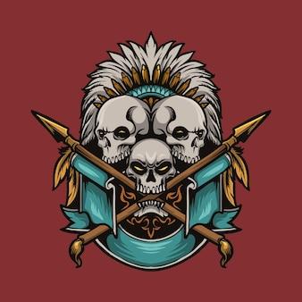 Hunter indian skull and spear cartoon illustration