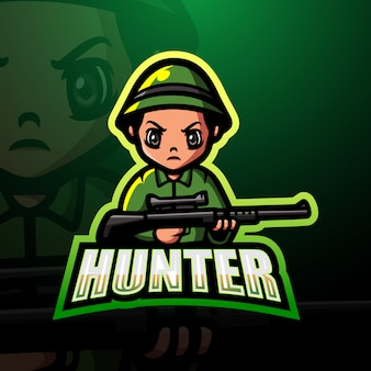 Hunter mascot esport logo illustration