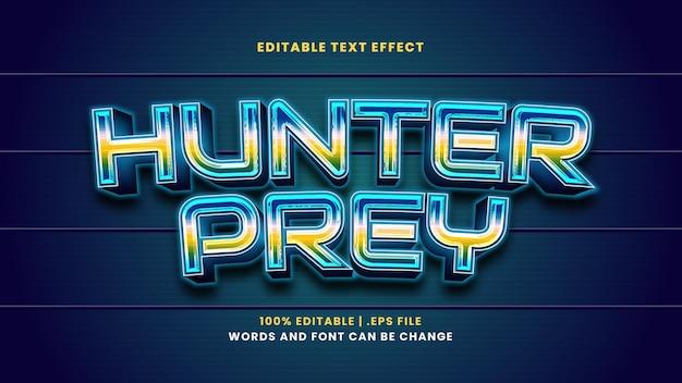 현대 3d 스타일의 사냥꾼 먹이 편집 가능한 텍스트 효과