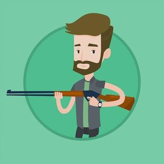 Охотник готов охотиться с охотничьим ружьем.