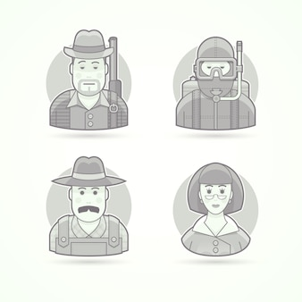 Hunter, scuba diver, village farmer, woman teacher. set of character, avatar and person  illustrations.  black and white outlined style.