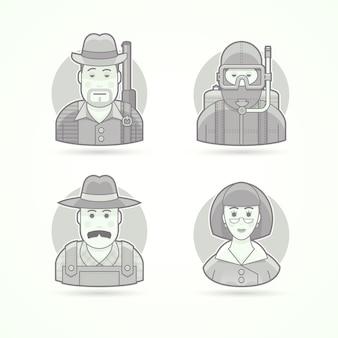 ハンター、スキューバダイバー、村の農家、女教師。キャラクター、アバター、人のイラストのセットです。黒と白のアウトラインスタイル。