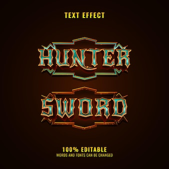 Hunter and sword fantasy medieval rpg game logo text effect with frame