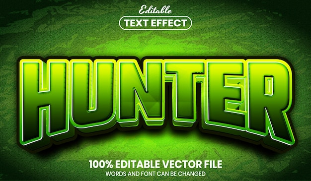 Hunter text, font style editable text effect