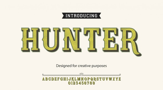 Hunter typeface.for labels and different type designs