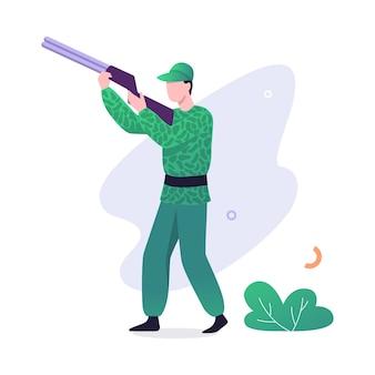 총을 가진 사냥꾼. 무기를 들고 위장 의류에 남자입니다. 야외 취미. 삽화