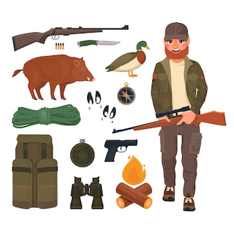 Hunter with rifle in cartoon style