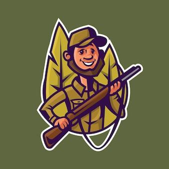 ライフルを持ったハンター。漫画風の狩猟のコンセプトアート。