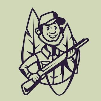 ライフルを持ったハンター。モノクロスタイルの狩猟のコンセプトアート。