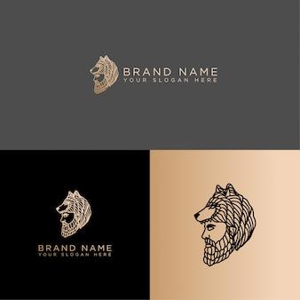 Охотник волк дикая природа штриховой рисунок логотип редактируемый шаблон
