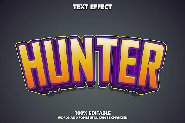 Текстовый эффект hunter, модный стиль текста для наклейки