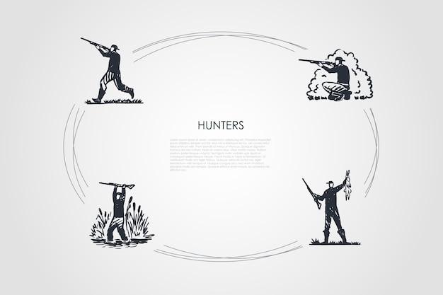 Hunters  concept set illustration