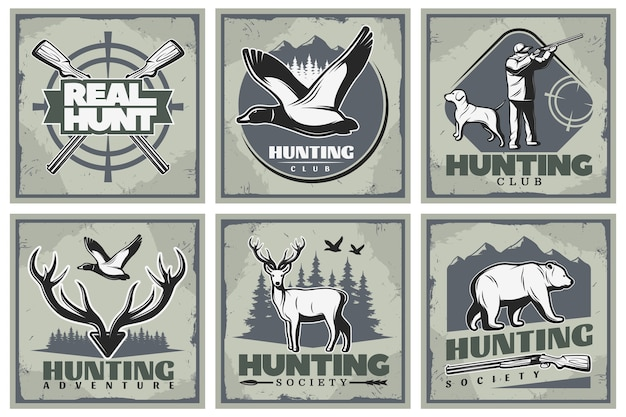 Hunting adventure illustration set