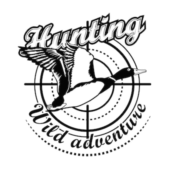 Hunting adventure vector illustration. aiming at flying duck with text