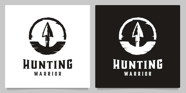 사냥 화살 창 포도주 배지 로고 디자인