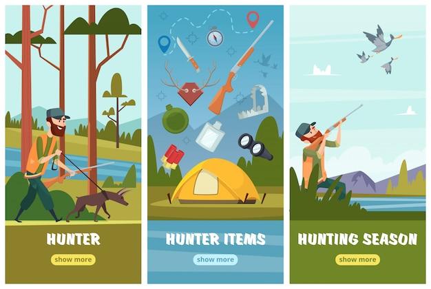 狩猟バナー。ライフル双眼鏡と弾薬を持つ男狙撃兵が秋のアヒル狩猟鳥の背景に行く