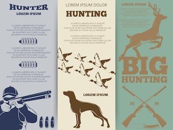Hunting brochure flyers template design
