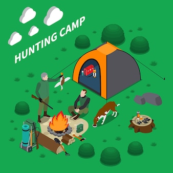 Hunting camp isometric composition with men dog and campfire symbols illustration