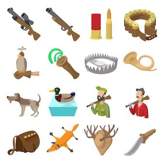Hunting cartoon icons set isolated