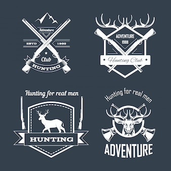 Hunting club or hunt adventure logo templates set