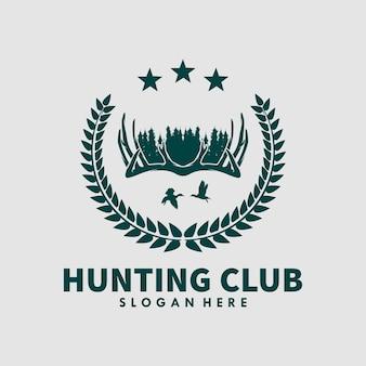 ハンティングクラブのロゴデザインテンプレート