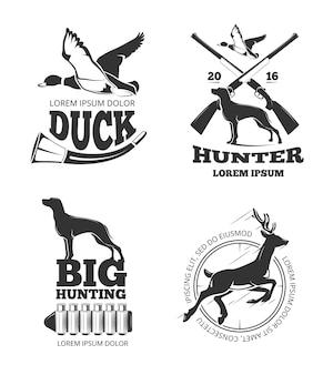 Hunting club vintage vector labels