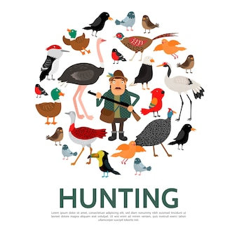 Шаблон охотничьих элементов в плоском стиле