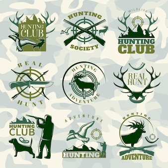 Hunting emblem set in color with hunting club hunting society and real hunt descriptions