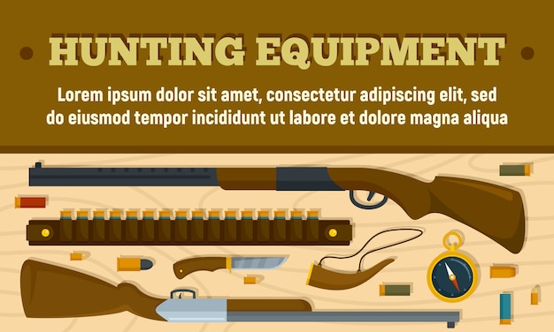 Hunting equipment banner, flat style