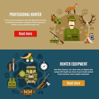 Hunting equipment banners set