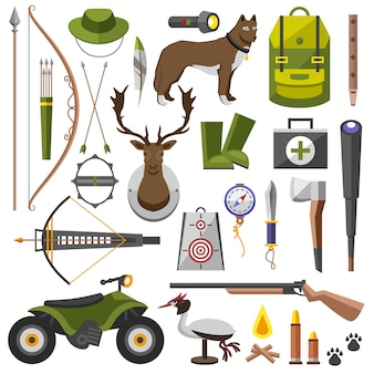 狩猟用具キットライフル、ナイフ、帽子、スーツ、ショットガン、ブーツ、デコイ、後援、マッチ、トラップ。図 Premiumベクター