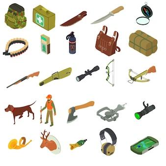 狩猟用具セット。白い背景で隔離のウェブデザインの狩猟機器の等尺性のセット