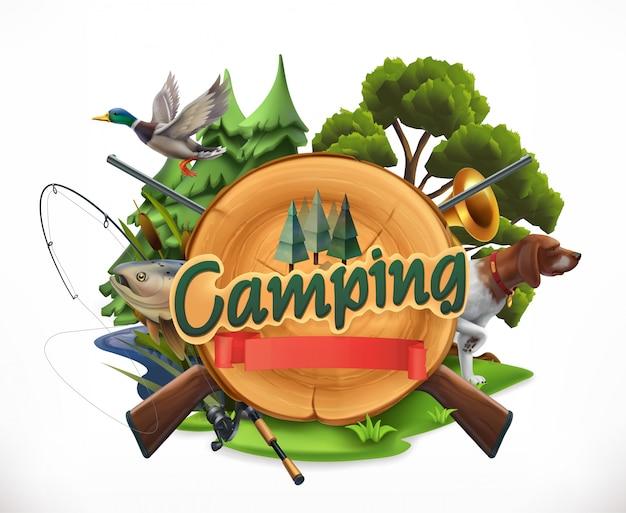 Hunting and fishing. 3d emblem camping