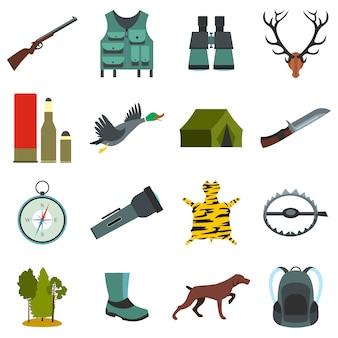 Hunting flat elements set isolated