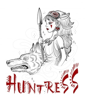 Hunting goddess girl with guns and wolf