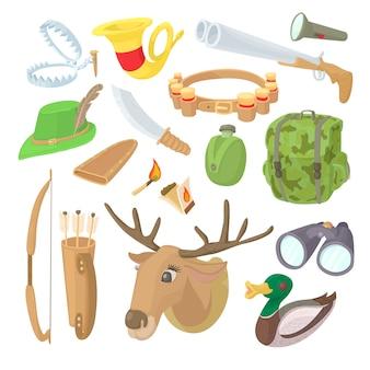 Набор иконок охоты в мультяшном стиле
