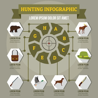 Hunting infographic concept, flat style