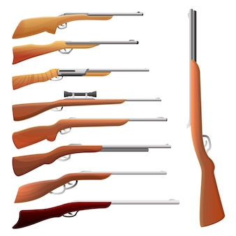 Hunting rifle set, cartoon style