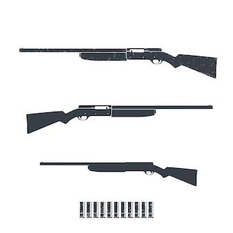 Hunting rifle, shotgun isolated on white
