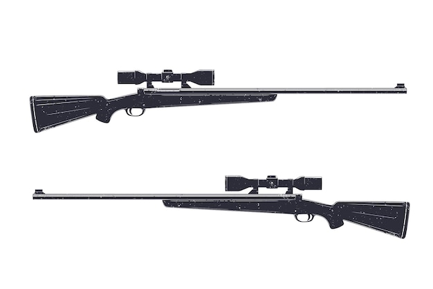 Охотничье ружье с оптическим прицелом, снайперская винтовка, изолированные на белом, векторные иллюстрации