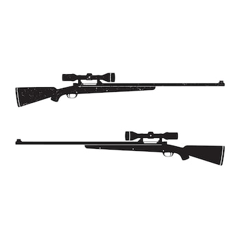 Hunting rifles with optical sight, with grunge texture Premium Vector
