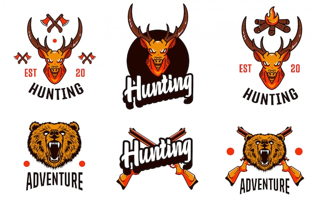 Hunting set deer template logo