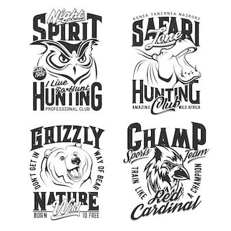 Hunting shirt prints, safari hunter and sport club icons