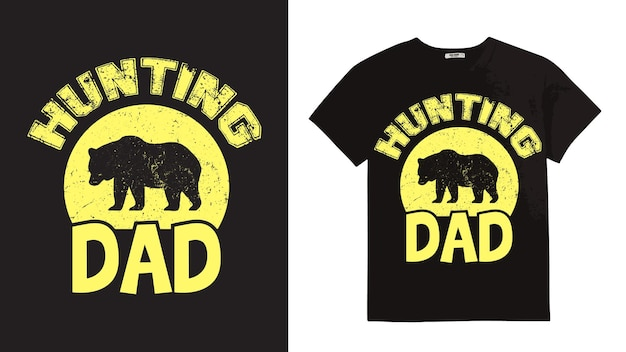 Tシャツのハンティングシルエットデザイン