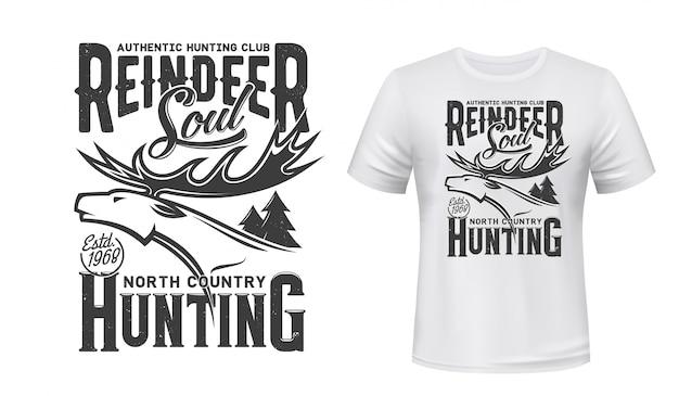 Hunting sport club t-shirt print with deer animal