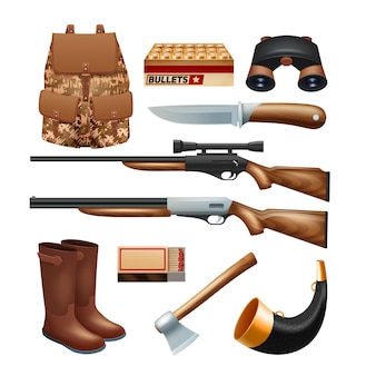 Hunting tackle and equipment icons set with rifles knives and survival kit