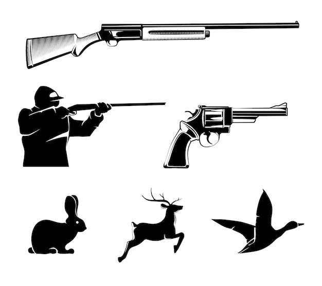 빈티지 라벨 및 엠블럼에 대한 사냥 벡터 요소. 사슴과 총, 사냥 스포츠, 권총 또는 리볼버, 야생 동물 및 소총 그림