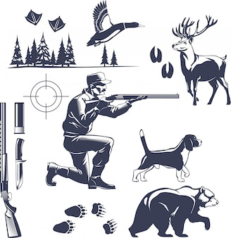 Hunting vintage style set
